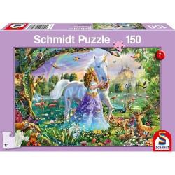 Puzzle - Princesse avec licorne et château - 150 pièces