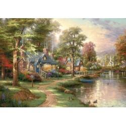 Puzzle - Familles d'animaux sur la rive - 100 pièces