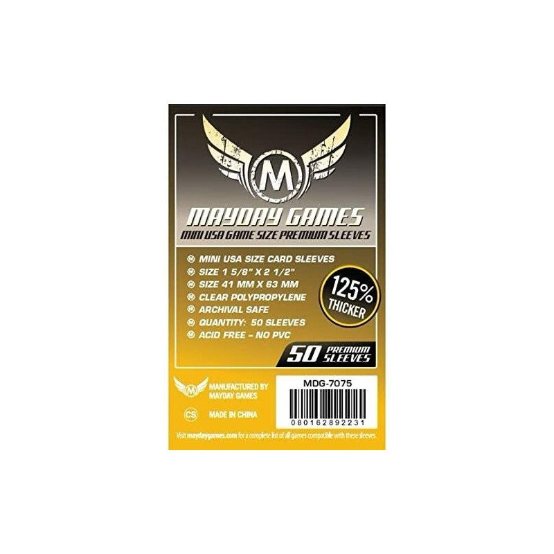 Clear Sleeves - Mini USA Game Size Premium (50) - Mayday Games (41x63 mm)