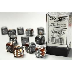Set de dés 6 bleu-blanc/rouge (12 pièces)