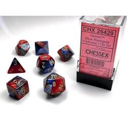 Set de dés violet-rouge/doré (4, 6, 8, 10, 10, 12 et 20 faces)