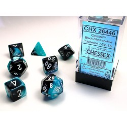 Set de dés noir-bleu/doré (4, 6, 8, 10, 10, 12 et 20 faces)