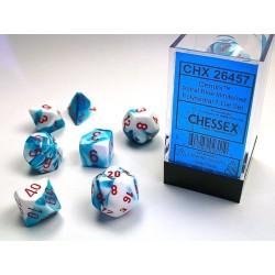 Set de dés noir-bleu/blanc (4, 6, 8, 10, 10, 12 et 20 faces)