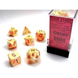 Set de dés noir-rouge/doré (4, 6, 8, 10, 10, 12 et 20 faces)