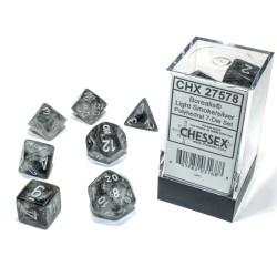 Set de dés noir-rose/blanc (4, 6, 8, 10, 10, 12 et 20 faces)
