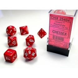 Set de dés rouge/blanc (4, 6, 8, 10, 10, 12 et 20 faces)