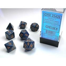 Set de dés bleu/bronze (4, 6, 8, 10, 10, 12 et 20 faces)